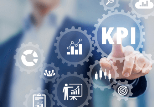Image with illustrated overlays of a professional tapping into KPIs