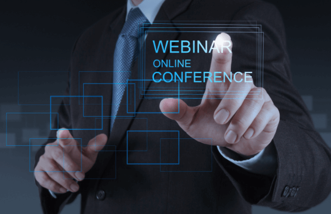 Business man behind a webinar graphic
